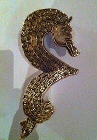 double spiral design anglo saxon seahorse