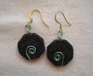 student's wrapped bead / loops earrings
