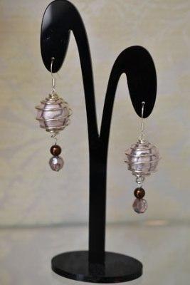 Jess's earrings using a spiral bead